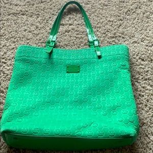 Green Michael Kors tote bag purse
